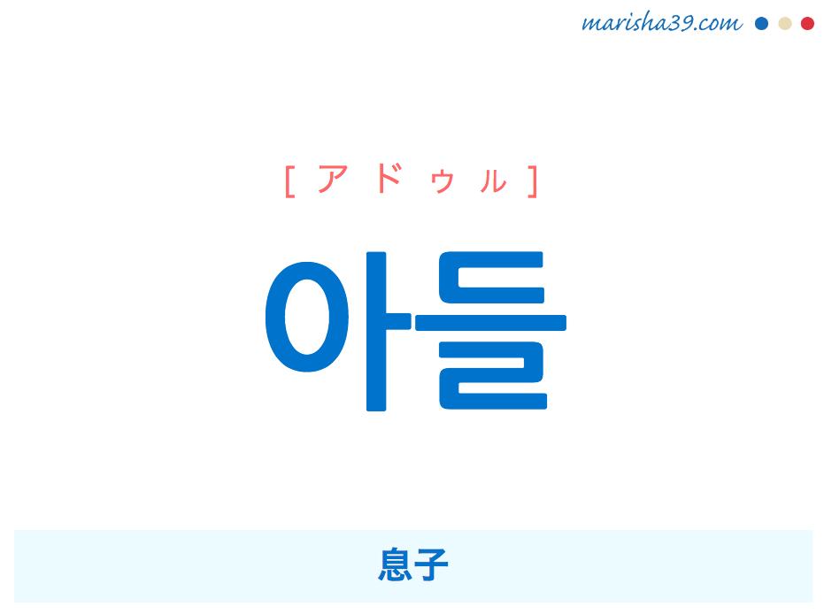 韓国語単語・ハングル 아들 [アドゥル] 息子 意味・活用・読み方と音声発音
