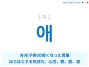韓国語単語・ハングル 애 [エ] 아이(子供)の短くなった言葉、はらはらする気持ち、心労、愛、涯、哀 意味・活用・読み方と音声発音