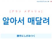 韓国語表現 알아서 매달려 [アラソ メダゥリョ] 勝手にしがみつく 歌詞で勉強