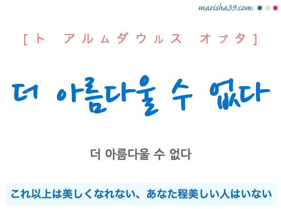 韓国語で表現 더 아름다울 수 없다 [ト アルムダウルス オプタ] これ以上は美しくなれない、あなた程美しい人はいない 歌詞で勉強