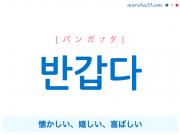 韓国語単語・ハングル 반갑다 [パンガプタ] 懐かしい、嬉しい、喜ばしい 意味・活用・読み方と音声発音