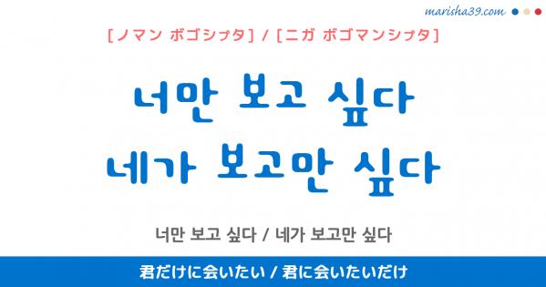 韓国語表現を歌詞で勉強 너만 보고 싶다 / 네가 보고만 싶다 君だけに会いたい / 君に会いたいだけ [ノマン ボゴシプタ] / [ニガ ボゴマンシプタ]