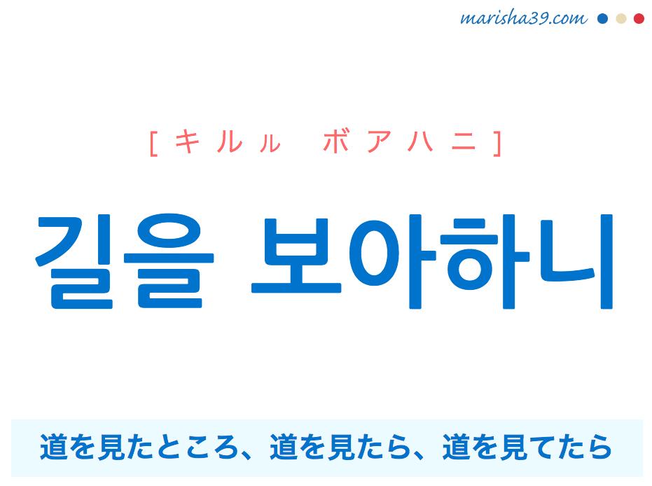 韓国語で表現 길을 보아하니 [キルル ボアハニ] 道を見たところ、道を見たら、道を見てたら 歌詞で勉強
