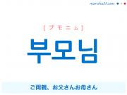 韓国語単語・ハングル 부모님 [プモニム] ご両親、お父さんお母さん 意味・活用・読み方と音声発音