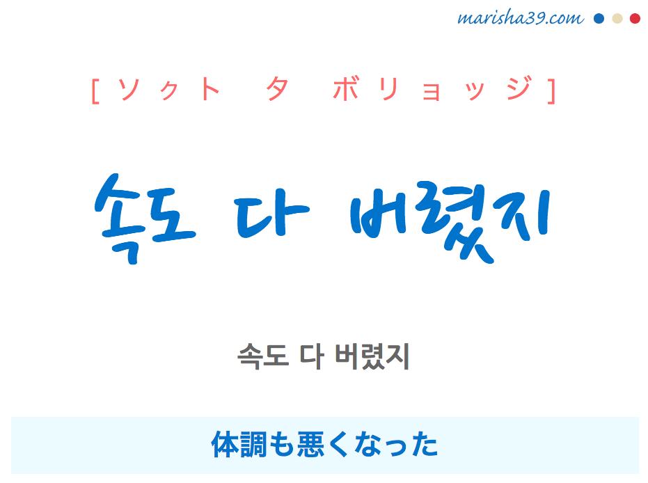 韓国語で表現 속도 다 버렸지 [ソクト タ ボリョッジ] 体調も悪くなった 歌詞で勉強