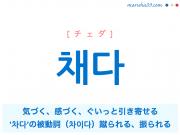 韓国語単語 채다 [チェダ] 気づく、感づく、急に強く引っ張る、ぐいっと引き寄せる、'차다'の被動詞(차이다)蹴られる、振られる 意味・活用・読み方と音声発音