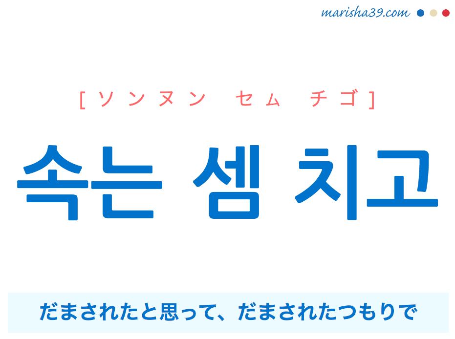 韓国語で表現 속는 셈 치고 [ソンヌン セム チゴ] だまされたと思って、だまされたつもりで 歌詞で勉強