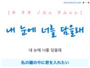 韓国語で表現 내 눈에 너를 담을래 [ネ ヌネ ノルル タムルレ] 私の瞳の中に君を入れたい 歌詞で勉強
