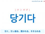 韓国語単語・ハングル 당기다 [タンギダ] 引く、引っ張る、惹かれる、そそられる 意味・活用・読み方と音声発音