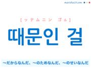 韓国語で表現 때문인 걸 [ッテムニン ゴル] ~だからなんだ、~のためなんだ、~のせいなんだ 歌詞で勉強