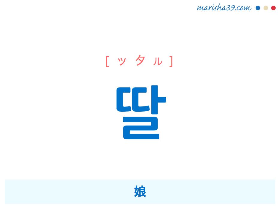 韓国語単語・ハングル 딸 [ッタル] 娘 意味・活用・読み方と音声発音