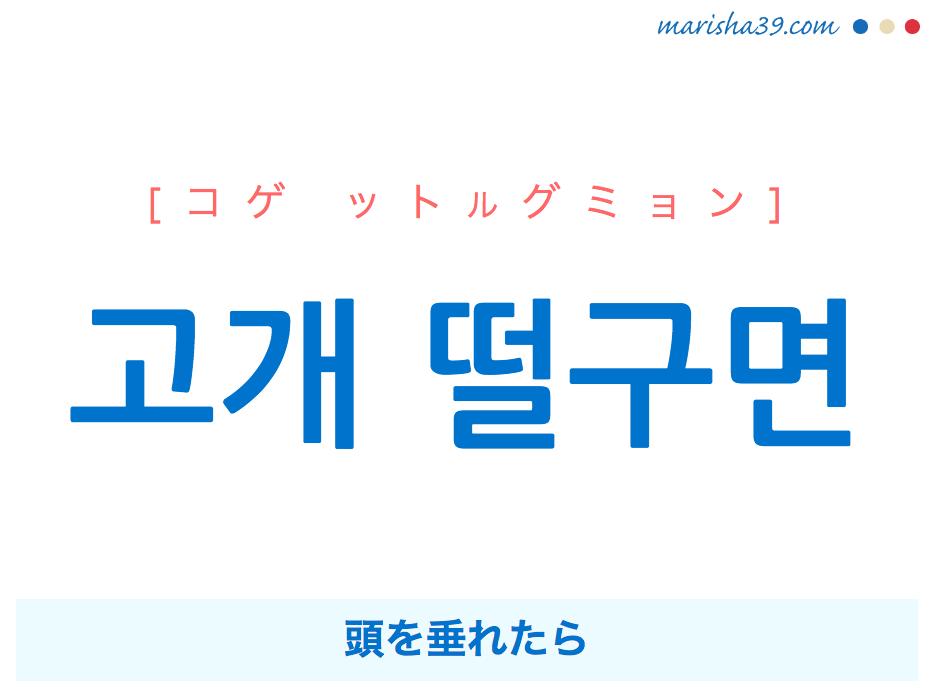 韓国語で表現 고개 떨구면 [コゲ ットルグミョン] 頭を垂れたら 歌詞で勉強