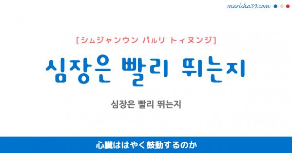 韓国語表現 심장은 빨리 뛰는지 [シムジャンウン パルリ トィヌンジ] 心臓ははやく鼓動するのか 歌詞で勉強