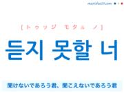 韓国語で表現 듣지 못할 너 [トゥッジ モタル ノ] 聞けないであろう君、聞こえないであろう君 歌詞で勉強