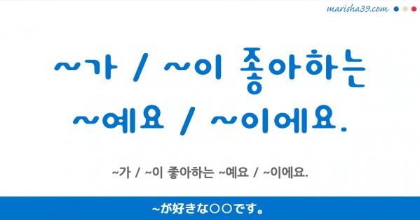 韓国語講座・表現マスター ~가 / ~이 좋아하는 ~예요 / ~이에요.
