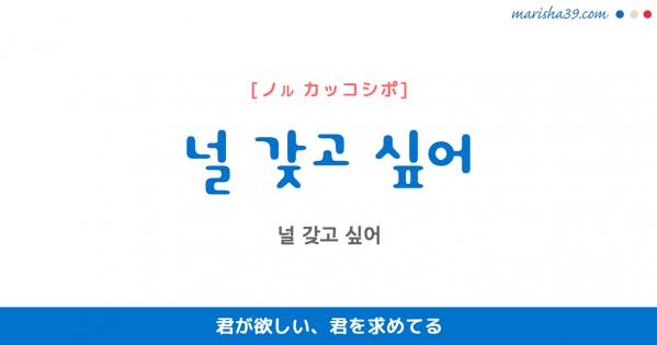 韓国語表現を歌詞で勉強【널 갖고 싶어】とは?君が欲しい、君を求めてる [ノル カッコシポ]