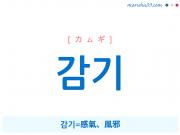韓国語単語・ハングル 감기 [カムギ] 감기=感氣、風邪 意味・活用・読み方と音声発音