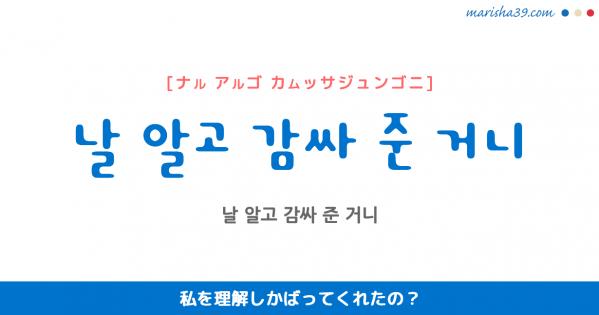 韓国語表現 날 알고 감싸 준 거니 [ナル アルゴ カムッサジュンゴニ] 私を理解しかばってくれたの? 歌詞で勉強