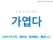 韓国語単語・ハングル 가엽다 [カヨプッタ] かわいそうだ、哀れだ、気の毒だ、痛ましい 意味・活用・読み方と音声発音