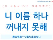韓国語で表現 니 이름 하나 꺼내지 못해 [ニ イルム ハナ コネジモテ] 君の名前一つ取り出せない 歌詞から学ぶ