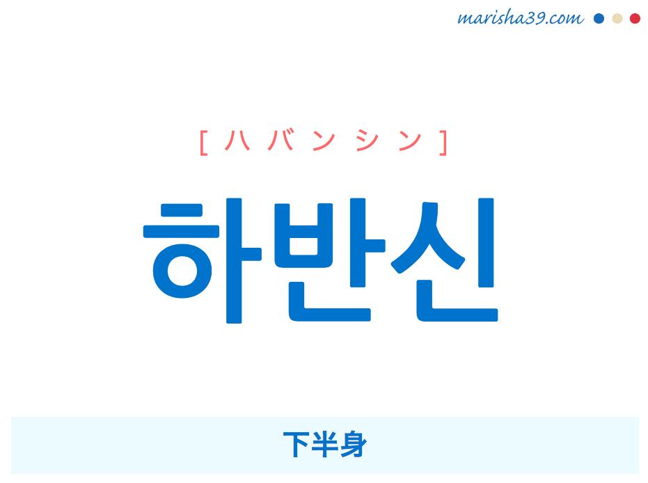 韓国語単語 하반신 [ハバンシン] 下半身 意味・活用・読み方と音声発音