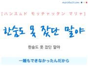 韓国語で表現 한숨도 못 잤단 말야 [ハンスムド モッチャッタン マリャ] 一睡もできなかったんだから 歌詞で勉強