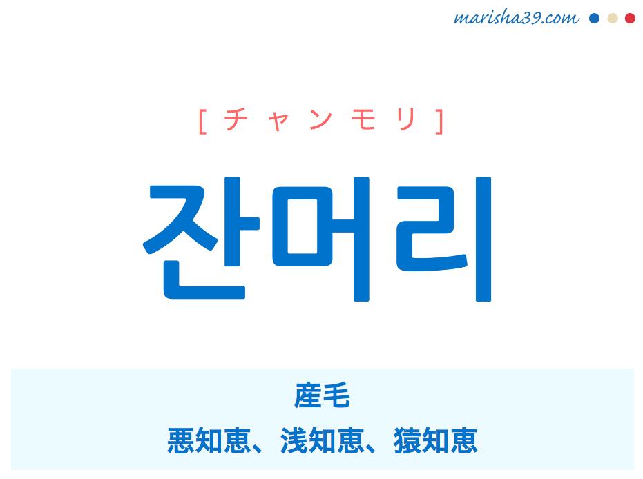 韓国語単語 잔머리 [チャンモリ] 産毛、悪知恵、浅知恵、猿知恵 意味・活用・読み方と音声発音