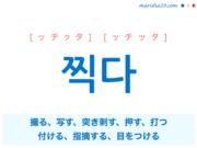 韓国語単語・ハングル 찍다 [ッチクタ] [ッチッタ] 撮る、写す、突き刺す、押す、打つ、付ける、指摘する、目をつける 意味・活用・読み方と音声発音