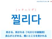 韓国語単語・ハングル 찔리다 [ッチルリダ] 刺さる、刺される、(良心が/気が)とがめる、(痛いところを)突かれる、'찌르다'の被動詞 意味・活用・読み方と音声発音