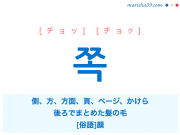 韓国語・ハングル 쪽 [チョッ] [チョク] 側、方、方面、(本などの)ページ、かけら、後ろでまとめた髪の毛、[俗語] 顔 意味・活用・読み方と音声発音