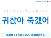 韓国語で表現 귀찮아 죽겠어 [クィチャナ チュッケッソ] 面倒臭くてたまらない、面倒臭過ぎる 歌詞で勉強