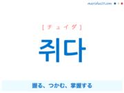 韓国語単語・ハングル 쥐다 [チュイダ] 握る、つかむ、掌握する 意味・活用・読み方と音声発音