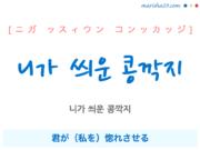 韓国語で表現 니가 씌운 콩깍지 [ニガ ッスィウン コンッカッジ] 君が(私を)惚れさせる 歌詞で勉強