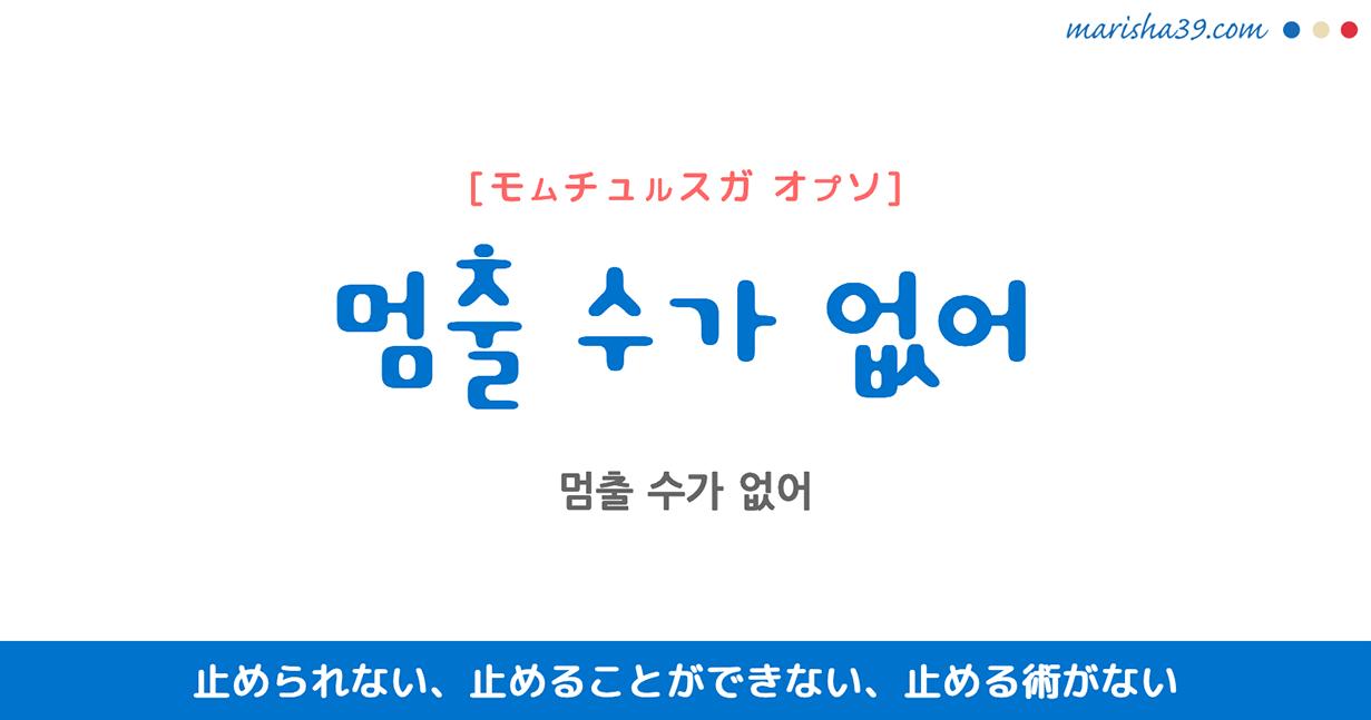 韓国語で表現 ~ㄹ 수가 없어 [~ル スゥガ オプソ] ~することができない、~(する)術がない 歌詞で勉強