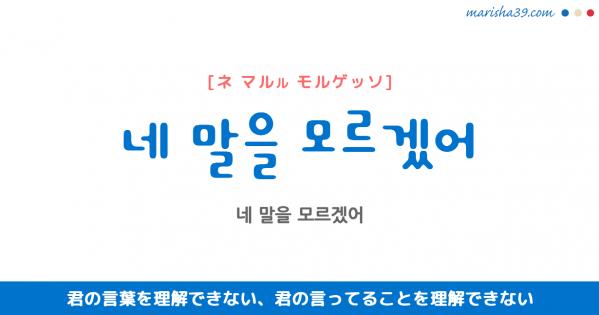 韓国語表現 네 말을 모르겠어 [ネ マルル モルゲッソ] 君の言葉を理解できない、君の言ってることを理解できない 歌詞で勉強