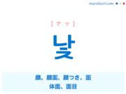 韓国語単語・ハングル 낯 [ナッ] 顔、顔面、顔つき、面、体面、面目 意味・活用・読み方と音声発音