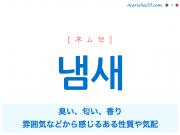 韓国語単語・ハングル 냄새 [ネムセ] 臭い、匂い、香り、雰囲気などから感じるある性質や気配 意味・活用・読み方と音声発音