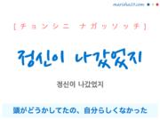 韓国語で表現 정신이 나갔었지 [チョンシニ ナガッソッチ] 頭がどうかしてたの、自分らしくなかった、どうかしてた 歌詞で勉強