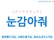 韓国語・ハングルで表現 눈감아줘 目を閉じてね、大目に見てね、知らんぷりしてね [ヌンカマジュオ] 歌詞を例にプチ解説
