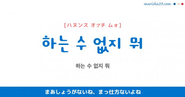 韓国語表現を歌詞で勉強 하는 수 없지 뭐 まあしょうがないね、まっ仕方ないよね [ハヌンス オプチ ムォ]