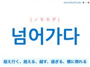 韓国語単語・ハングル 넘어가다 [ノモカダ] [ノムオガダ] 超え行く、超える、越す、過ぎる、横に倒れる 意味・活用・読み方と音声発音