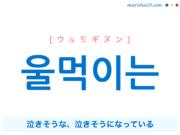 韓国語で表現 울먹이는 [ウルモギヌン] 泣きそうな、泣きそうになっている 歌詞で勉強