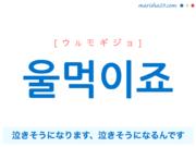 韓国語で表現 울먹이죠 [ウルモギジョ] 泣きそうになります、泣きそうになるんです 歌詞で勉強