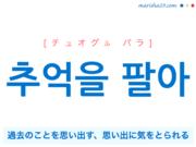 韓国語で表現 추억을 팔아 [チュオグル パラ] 過去のことを思い出す、思い出に気をとられる 歌詞で勉強