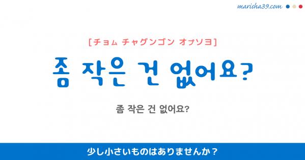 韓国語勉強☆フレーズ音声 좀 작은 건 없어요? 少し小さいものはありませんか?