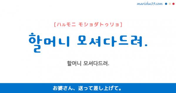 韓国語勉強☆フレーズ音声 할머니 모셔다드려. お婆さん、送って差し上げて。