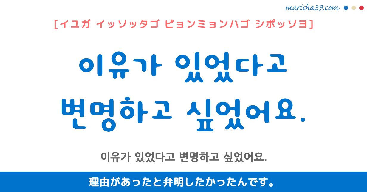 韓国語勉強☆フレーズ音声 이유가 있었다고 변명하고 싶었어요. 理由があったと弁明したかったんです。