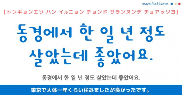 韓国語勉強☆フレーズ音声 동경에서 한 일 년 정도 살았는데 좋았어요. 東京で大体一年くらい住みましたが良かったです。