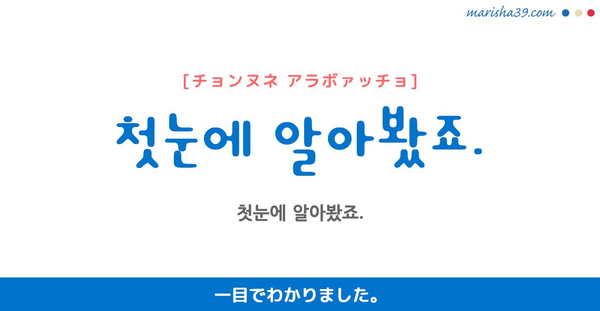 韓国語・ハングル フレーズ音声 첫눈에 알아봤죠. 一目でわかりました。