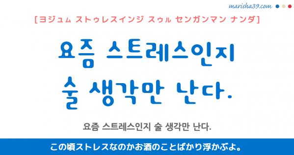 韓国語勉強☆フレーズ音声 요즘 스트레스인지 술 생각만 난다. この頃ストレスなのかお酒のことばかり浮かぶよ。